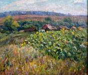 Подсолнухи цветут  50х60см. х.м. 2002г. Крапивкин. В.П.